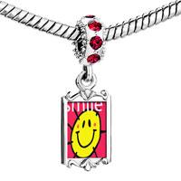 Charms Beads - red crystal dangle sunshine smile Image.