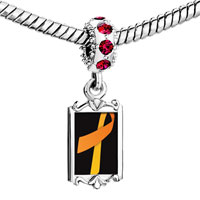 Charms Beads - red crystal dangle orange ribbon Image.