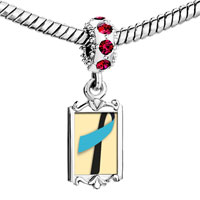Charms Beads - red crystal dangle black blue ribbon Image.