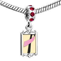 Charms Beads - red crystal dangle black pink ribbon Image.