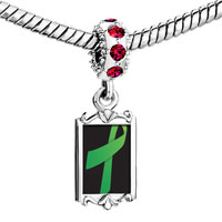 Charms Beads - red crystal dangle green ribbon Image.