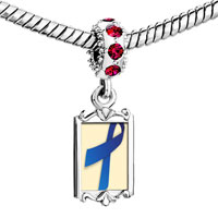 Charms Beads - red crystal dangle blue ribbon Image.