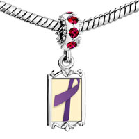 Charms Beads - red crystal dangle purple ribbon Image.