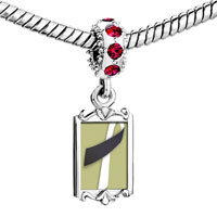 Charms Beads - red crystal dangle black white ribbon Image.