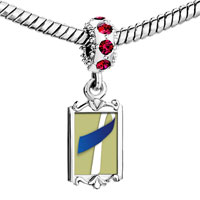 Charms Beads - red crystal dangle blue white ribbon Image.