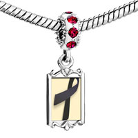 Charms Beads - red crystal dangle black ribbon Image.