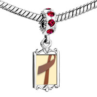 Charms Beads - red crystal dangle brown ribbon Image.