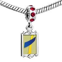 Charms Beads - red crystal dangle blue yellow ribbon Image.