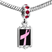 Charms Beads - red crystal dangle pink ribbon Image.