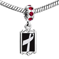 Charms Beads - red crystal dangle silver ribbon Image.
