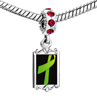 Charms Beads - red crystal dangle lime green ribbon Image.