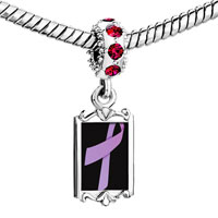 Charms Beads - red crystal dangle lavender ribbon Image.