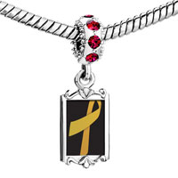 Charms Beads - red crystal dangle gold ribbon Image.