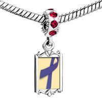 Charms Beads - red crystal dangle periwinkle ribbon Image.