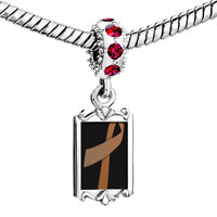 Charms Beads - red crystal dangle copper ribbon Image.