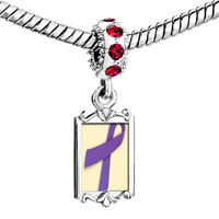 Charms Beads - red crystal dangle violet ribbon Image.