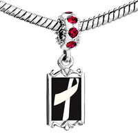 Charms Beads - red crystal dangle white ribbon black Image.