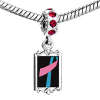 Charms Beads - red crystal dangle pink blue ribbon Image.