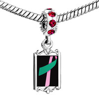 Charms Beads - red crystal dangle pink teal ribbon Image.