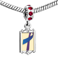 Charms Beads - red crystal dangle purple blue ribbon Image.