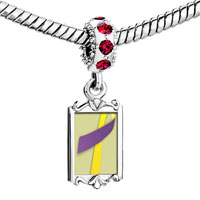 Charms Beads - red crystal dangle purple yellow ribbon Image.