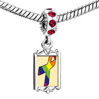 Charms Beads - breast cancer awareness red crystal dangle rainbow pink ribbon Image.