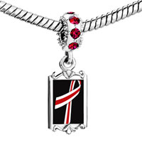 Charms Beads - red crystal dangle white ribbon Image.
