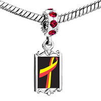 Charms Beads - red crystal dangle yellow ribbon Image.
