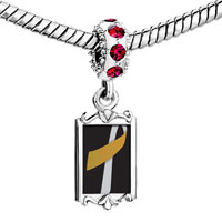 Charms Beads - red crystal dangle silver gold color ribbon Image.