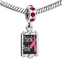 Charms Beads - red crystal dangle think pink ribbon Image.