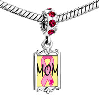 Charms Beads - red crystal dangle mom pink ribbon Image.