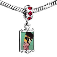 Charms Beads - red crystal dangle gold egyptian nefertiti Image.
