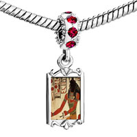 Charms Beads - red crystal dangle gold egyptian god khepri Image.