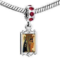 Charms Beads - red crystal dangle gold egyptian queen cleopatra Image.