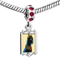 Charms Beads - red crystal dangle gold egyptian bastet cat Image.