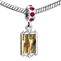 Charms Beads - red crystal dangle gold egyptian horus nefertiti Image.