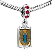 Charms Beads - red crystal dangle gold egyptian khepri Image.