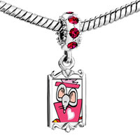 Charms Beads - red crystal dangle gold valentine' s day rat cartoon Image.
