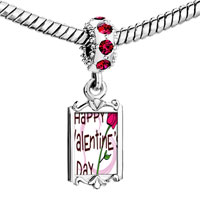 Charms Beads - red crystal dangle gold valentine' s day pink rose Image.