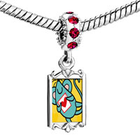 Charms Beads - red crystal dangle gold valentine' s day blue mouse Image.