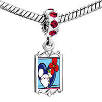 Charms Beads - red crystal dangle gold valentine' s day rose mouse Image.