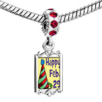Charms Beads - red crystal dangle gold leap day Image.
