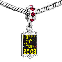 Charms Beads - red crystal dangle gold happy leap year Image.