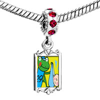 Charms Beads - red crystal dangle gold leap day frog stork Image.