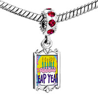 Charms Beads - red crystal dangle gold leap year birthday cake Image.