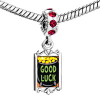 Charms Beads - red crystal dangle good luck pot gold Image.