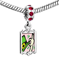 Charms Beads - red crystal dangle gold st.  patrick' s day theme Image.