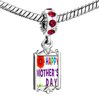 Charms Beads - red crystal dangle gold happy mother' s day theme Image.
