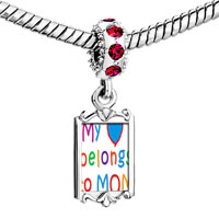 Charms Beads - red crystal dangle gold mother' s day theme Image.