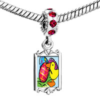 Charms Beads - red crystal dangle easter egg Image.